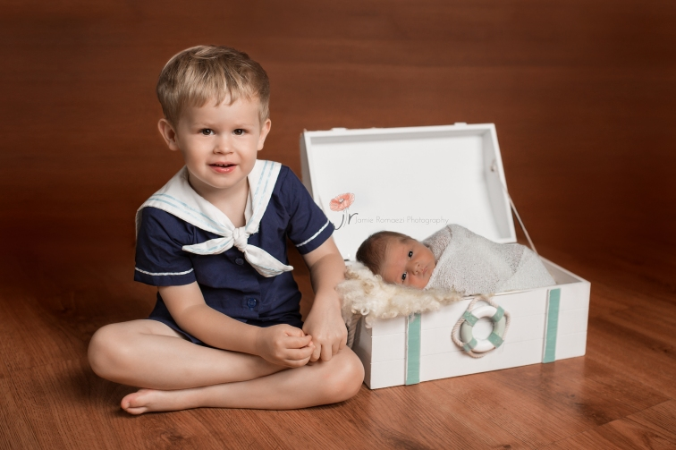 Sailor Themed Newborn Sibling Photo