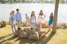 grandchildren on rocks