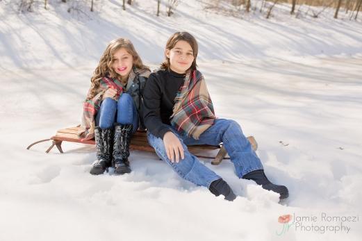 snow photos on sled