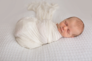 newborn on white backdrop