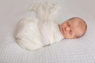 newborn on white backdrop