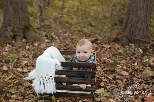 baby in a crate in fall leaves with a white blanket