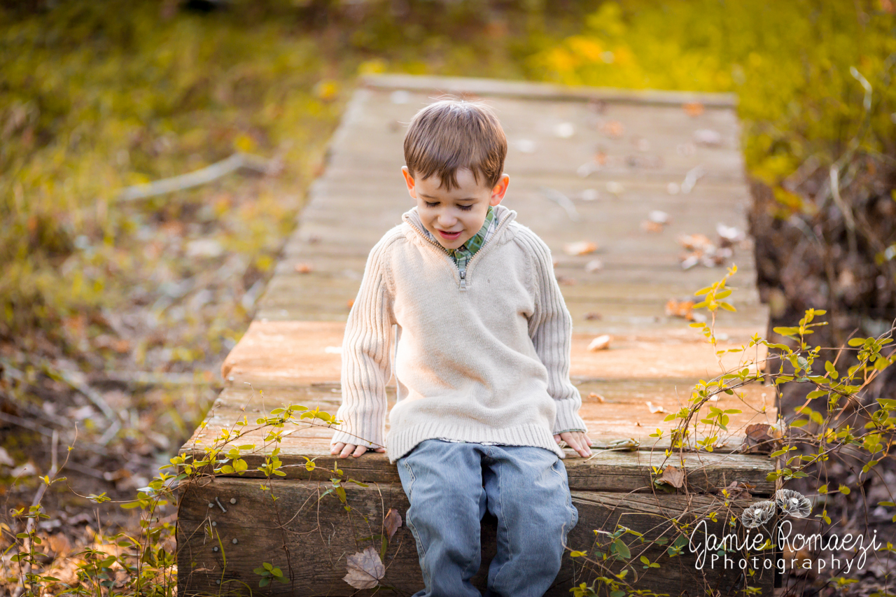 Little boy playing briefly on an old wooden bridge during family photos