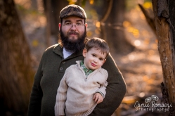boy and dad in the woods for photo
