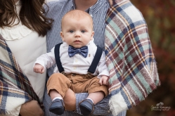 3 month old in bow tie with his name. outdoor baby photo.