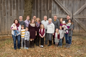Extended family photo with 19 people from grandparents down to a 6 month old baby