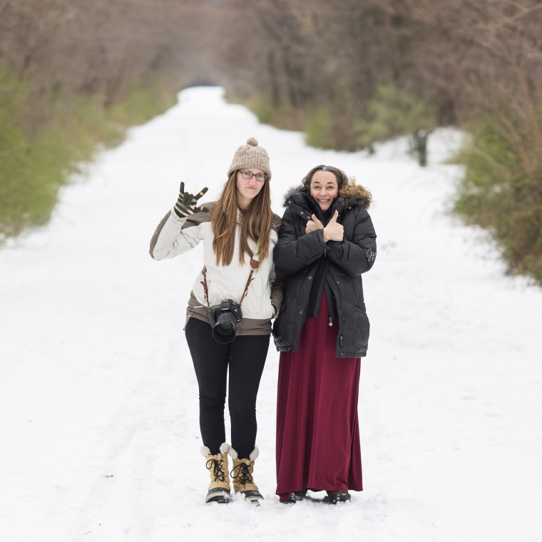 2 Photographers in the snow after maternity photos.