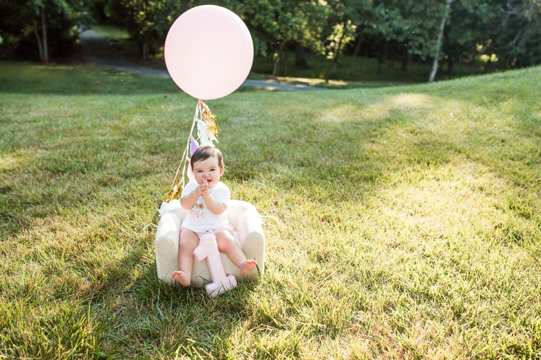 First Birthday Family Photo session, then and now, oversized balloon.