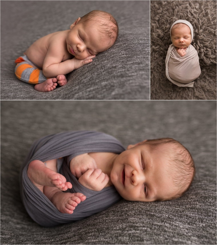 Collage of newborn taco pose, and two swaddled poses on gray backdrop.